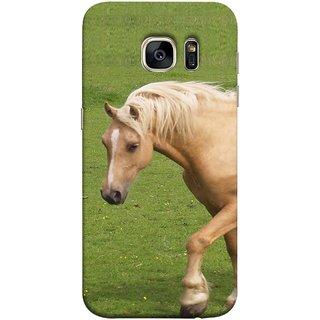 FUSON Designer Back Case Cover for Samsung Galaxy S7 Edge :: Samsung Galaxy S7 Edge Duos :: Samsung Galaxy S7 Edge G935F G935 G935Fd  (White Horse In The Park On The Green Grass)