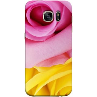FUSON Designer Back Case Cover for Samsung Galaxy S7 Edge :: Samsung Galaxy S7 Edge Duos :: Samsung Galaxy S7 Edge G935F G935 G935Fd  (Pink Red Baby Yellow Shades Friendship Flowers Roses)
