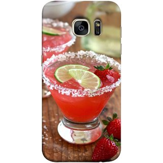 FUSON Designer Back Case Cover for Samsung Galaxy S7 Edge :: Samsung Galaxy S7 Edge Duos :: Samsung Galaxy S7 Edge G935F G935 G935Fd  (Wine Glass Lemon Slices Farm Fresh Strawberry )