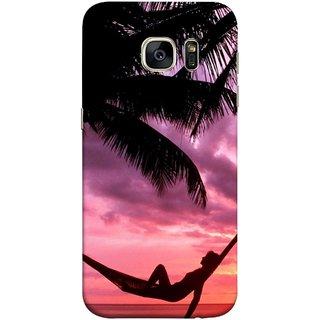 FUSON Designer Back Case Cover for Samsung Galaxy S7 Edge :: Samsung Galaxy S7 Edge Duos :: Samsung Galaxy S7 Edge G935F G935 G935Fd  (Sunset Beach Hammock Chillout Wallpapers Palmtrees)