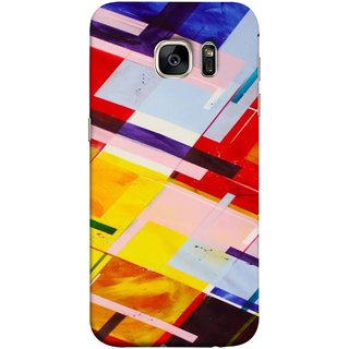 FUSON Designer Back Case Cover for Samsung Galaxy S7 Edge :: Samsung Galaxy S7 Edge Duos :: Samsung Galaxy S7 Edge G935F G935 G935Fd  (Bright Beautiful Colour Strips And Band Wave Triangle)