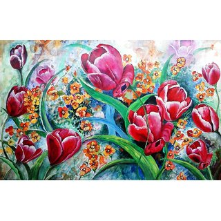 Beautiful Painting - Tulips (Acrylic on Paper @ 28x18 inch)
