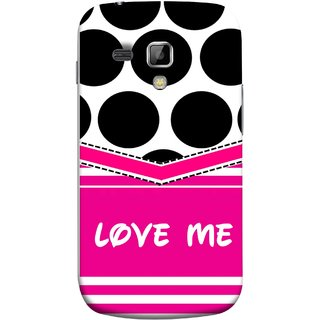 FUSON Designer Back Case Cover for Samsung Galaxy S Duos S7562 (Pink Design Paper Big Black Circles Bubbles )