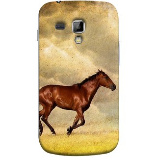 FUSON Designer Back Case Cover for Samsung Galaxy S Duos S7562 (Black Horse Animal Green Grass Blue Sky Clouds Look)