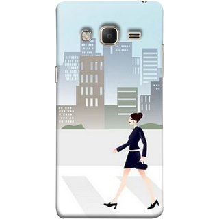 FUSON Designer Back Case Cover for Samsung Galaxy Z3 Tizen :: Samsung Z3 Corporate Edition (Morden Girl Building Blue Outfit Purse Zebra Cross)