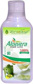 Zindagi Aloevera Juice - Pure Extract Of Aloevera - Natural Vitamins  Minerals (500ml)