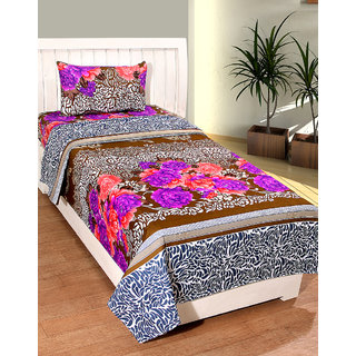 BSB Trendz Printed Cotton Single  Bedsheet With 1 Pillow Covers
