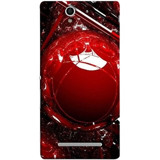 FUSON Designer Back Case Cover for Sony Xperia C3 Dual :: Sony Xperia C3 Dual D2502 (Bold Red Design 3D Rendering Of Modern Abstract)