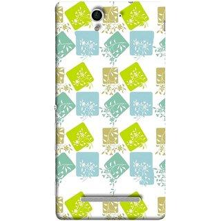 FUSON Designer Back Case Cover for Sony Xperia C3 Dual :: Sony Xperia C3 Dual D2502 (Pixel Mosaic Background Squares Tree Plants Garden )