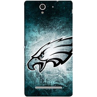 FUSON Designer Back Case Cover for Sony Xperia C3 Dual :: Sony Xperia C3 Dual D2502 (Universe Background Blue Dots Strong Eagle Champion)