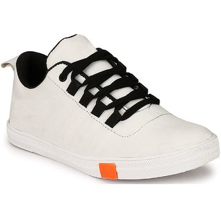 Cyro Men'S White Synthetic Leather Casual Shoes