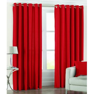 BSN RED Crush Plain Single Door Curtain
