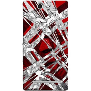 FUSON Designer Back Case Cover for Sony Xperia C3 Dual :: Sony Xperia C3 Dual D2502 (White Squares Triangle Red Maroon Artwork )