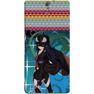FUSON Designer Back Case Cover for Sony Xperia C5 Ultra Dual :: Sony Xperia C5 E5533 E5563 (Blue Background Woman Standing Holding Warrior Fantasy)