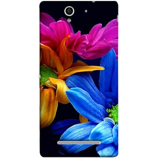 FUSON Designer Back Case Cover for Sony Xperia C3 Dual :: Sony Xperia C3 Dual D2502 (Colourful Wow Hd Gerbera Flowers Pink Blur Orange)