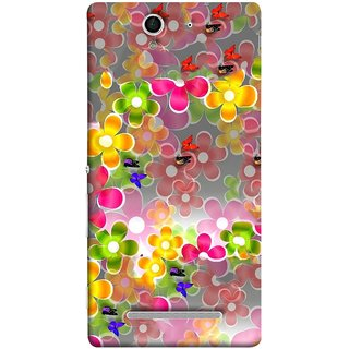 FUSON Designer Back Case Cover for Sony Xperia C3 Dual :: Sony Xperia C3 Dual D2502 (Butterflies Garden Trees Stars Bright Best Wallpaper)