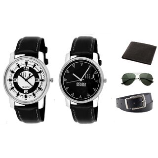 WBAC.(GUG x 2) 3.4 Pack of Two Analogue Wrist Watch With Wallet,Belt and Shades For Boys And Men
