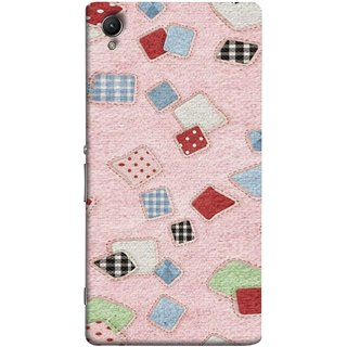 FUSON Designer Back Case Cover for Sony Xperia C6 Ultra Dual (Baby Pink Lot Colours Squares Patch Tiles )