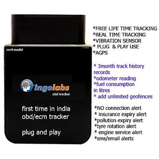 gps tracker mv4 obd + REAL TIME + AGPS + vibration + inbuilt battery +2years war