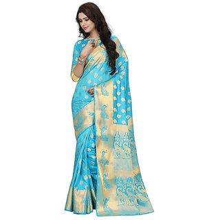 Women's Banarasi Saree (Turquoise Weaving Work Banarasi Silk Designer Traditional Saree)