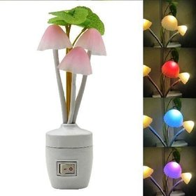 Sk Enterprises1 Plastic Color Changing Electric LED Mushroom Night Lamp Light with Switch