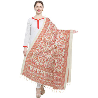 Swaron Beige and Orange Colored Ethnic Printed Art Silk Dupatta