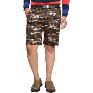 American Noti Brown Stretchable Cotton Lycra Slim Fit Men's Shorts(Bermuda)/3/4 th