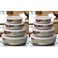 Set Of 8 Steel Containers With Lid For Diwali Gifting Can Be Filled With Sweets And Chocolates