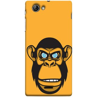 FUSON Designer Back Case Cover for Sony Xperia J :: Sony Xperia J ST26i :: Sony Xperia J ST26a (Orange Background Open Ears Black Hairs Jungle Nose)