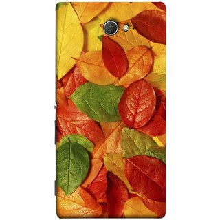 FUSON Designer Back Case Cover for Sony Xperia M2 Dual :: Sony Xperia M2 Dual D2302 (Nature Colour Big Lotus Leaves Network Of Veins)