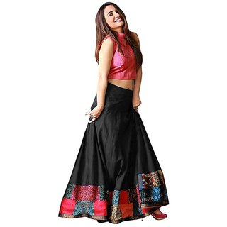 Aika Tapeta Silk Digital Printed Lehenga Choli For Women (BlackFree Size) S028-Udan-Black