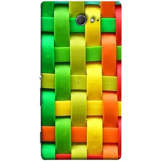 FUSON Designer Back Case Cover for Sony Xperia M2 Dual :: Sony Xperia M2 Dual D2302 (Bright And Beautiful Colour Strips And Band Wave )