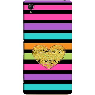 FUSON Designer Back Case Cover for Sony Xperia M4 Aqua :: Sony Xperia M4 Aqua Dual (Sprinkle Gold Glitter Heart Flag Hearts Valentine)