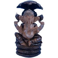 Colorful Painted Lord Ganesha Seated Sheshnaag