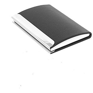 Buy smart leatherite visiting card holder stainless steel black smart leatherite visiting card holder stainless steel black metal case credit card atm visiting reheart Gallery