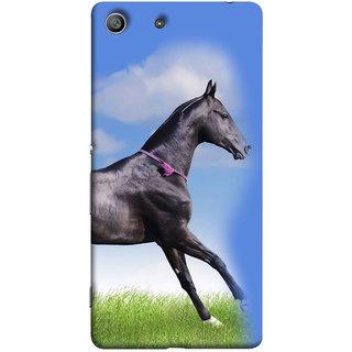 FUSON Designer Back Case Cover for Sony Xperia M5 Dual :: Sony Xperia M5 E5633 E5643 E5663 (Black Horse Blue Sky Clouds Look)