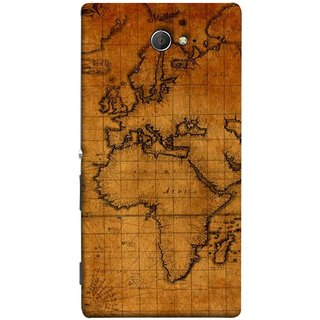 FUSON Designer Back Case Cover for Sony Xperia M2 Dual :: Sony Xperia M2 Dual D2302 (World Map Altitude And Longitude Countries India )