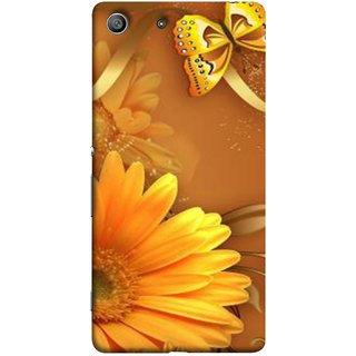 FUSON Designer Back Case Cover for Sony Xperia M5 Dual :: Sony Xperia M5 E5633 E5643 E5663 (Butterfly Bright Beautiful Colorful Yellow Splendo Trees )