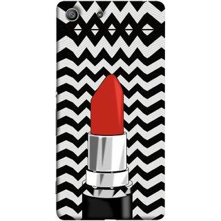 FUSON Designer Back Case Cover for Sony Xperia M5 Dual :: Sony Xperia M5 E5633 E5643 E5663 (Red Lipstick Lips Shade Wave Patterns Black)