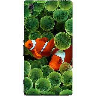 FUSON Designer Back Case Cover for Sony Xperia M4 Aqua :: Sony Xperia M4 Aqua Dual (White Orange Two Fish Water Salt Best Wallpapers Sea)