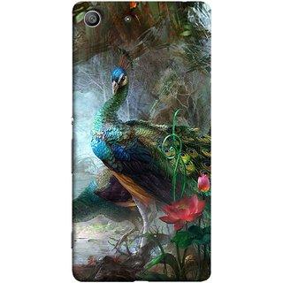 FUSON Designer Back Case Cover for Sony Xperia M5 Dual :: Sony Xperia M5 E5633 E5643 E5663 (Nice Colourful Long Pair His Mate Peacock Feathers Beak)