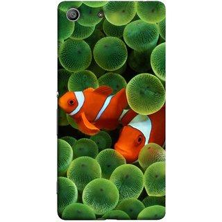 FUSON Designer Back Case Cover for Sony Xperia M5 Dual :: Sony Xperia M5 E5633 E5643 E5663 (White Orange Two Fish Water Salt Best Wallpapers Sea)