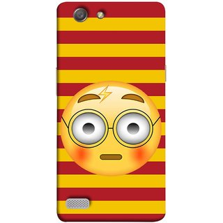 FUSON Designer Back Case Cover for Oppo Neo 7 :: Oppo A33 (Sad Moon Power Icons Red And Yellow Strips )