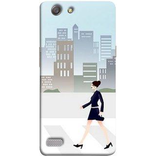 FUSON Designer Back Case Cover for Oppo Neo 7 :: Oppo A33 (Morden Girl Building Blue Outfit Purse Zebra Cross)