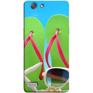 FUSON Designer Back Case Cover for Oppo Neo 7 :: Oppo A33 (Green Chappals Sand Starfish Sunny Day Sunshine)
