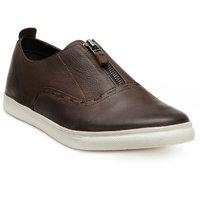 Franco Leone Men'S Brown Slip On Casual Shoes