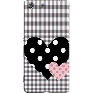 FUSON Designer Back Case Cover for Sony Xperia M5 Dual :: Sony Xperia M5 E5633 E5643 E5663 (Two Hearts Towels Pink Love Lovers Small Checks )