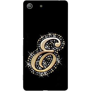 FUSON Designer Back Case Cover for Sony Xperia M5 Dual :: Sony Xperia M5 E5633 E5643 E5663 (Gold Framed Alphabet Letter E Filled With Diamonds)