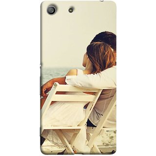 FUSON Designer Back Case Cover for Sony Xperia M5 Dual :: Sony Xperia M5 E5633 E5643 E5663 (Beautiful Husband Wife Lovers Valentines Sitting Sea Shore)