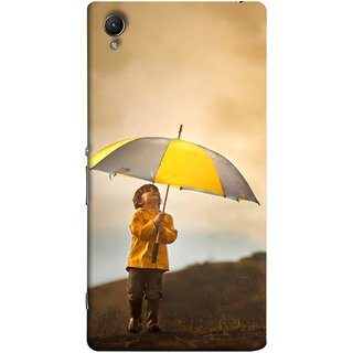 FUSON Designer Back Case Cover for Sony Xperia M4 Aqua :: Sony Xperia M4 Aqua Dual (Adorable Little Boy Holding Toy Friend And Umbrella)